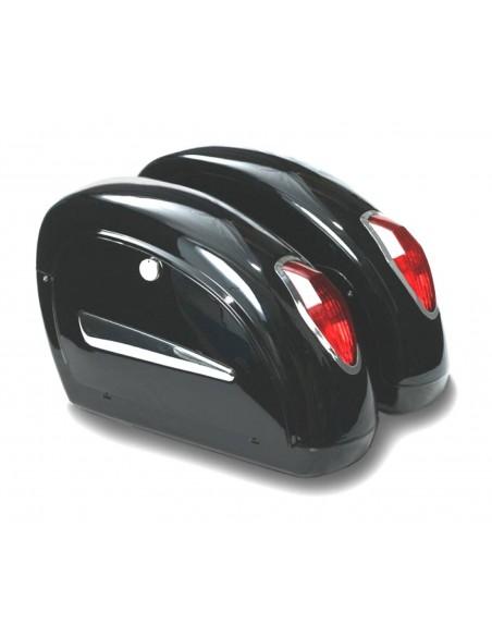 Alforjas rigidas moto custom con luces mini Drop