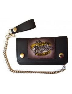 Cartera billetera de piel PU para motorista