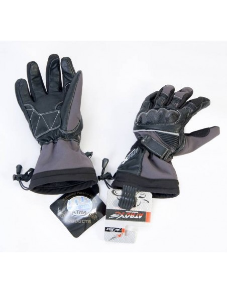 Guantes para moto piel y cordura Gris y y Negro