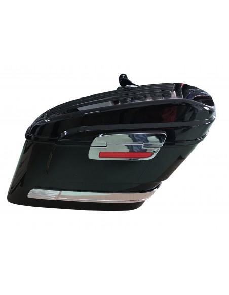 Alforjas rigidas moto custom con reflector lateral