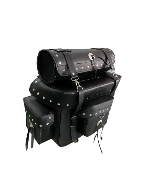 Baúl trasero de cuero para moto custom 33 ltrs